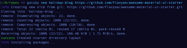 Gatsby new output in the terminal